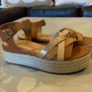 Gold/Tan/Brown/Rose Gold Wedge-Size 7 1/2